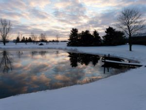 Dawn over the pond in Winter